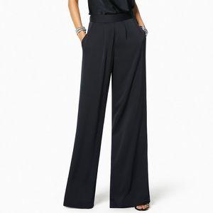 Black Satin Wide Leg Trouser
